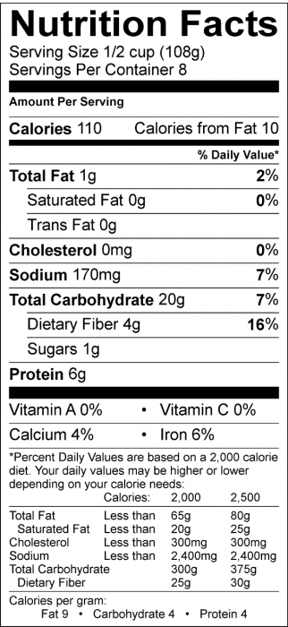 Photo of Nutrition Facts of Dry Roasted Garbanzo Beans