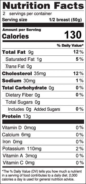 Photo of Nutrition Facts for Skillet Braised Chicken