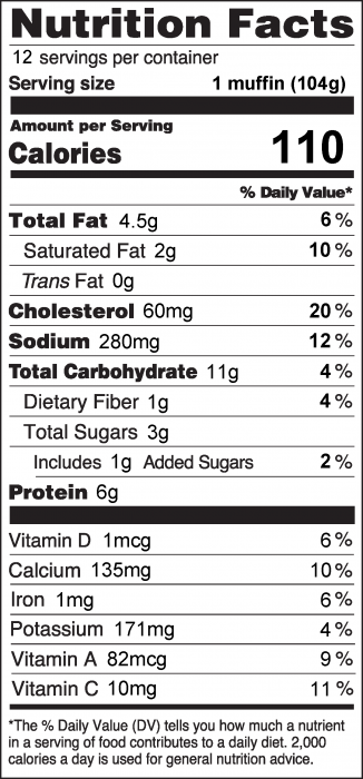 Photo of Nutrition Facts for Veggie Quiche Muffin
