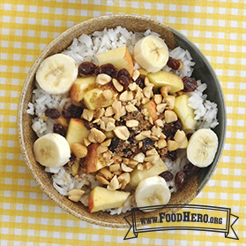 Photo of Rice Bowl Breakfast with Fruit and Nuts
